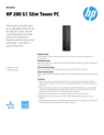 AMS HP 280 G1 Slim Tower PC Datasheet