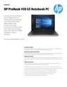 AMS HP ProBook 450 G5 Notebook PC Datasheet