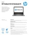 AMS HP ProBook 455 G3 Notebook PC Datasheet