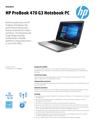 AMS HP ProBook 470 G3 Notebook PC Datasheet