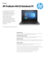 AMS HP ProBook 440 G5 Notebook PC Datasheet