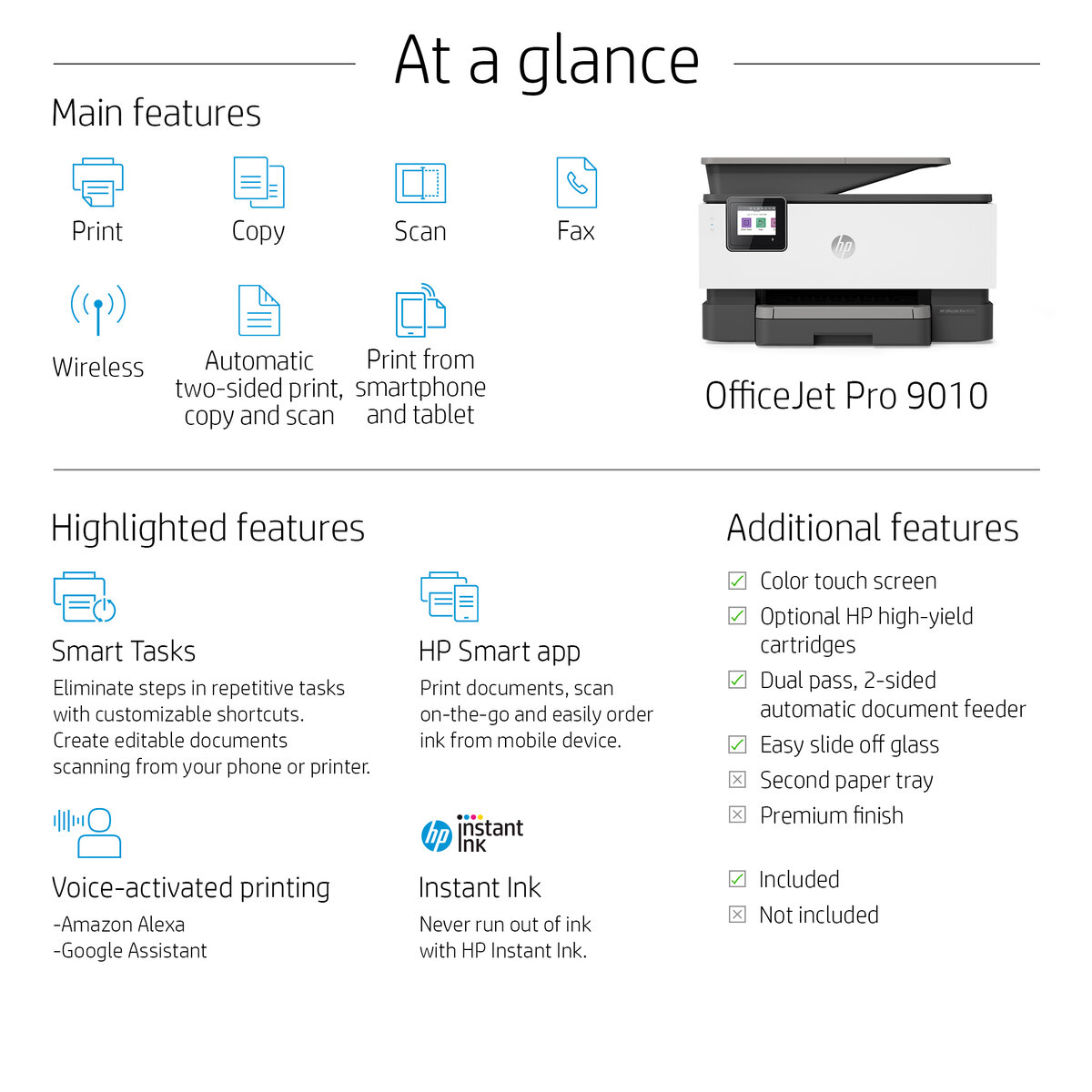 HP OfficeJet Pro 9020 All-in-one wireless printer Print,Scan,Copy from your  phone, voice activated (works with Alexa and Google Assistant)