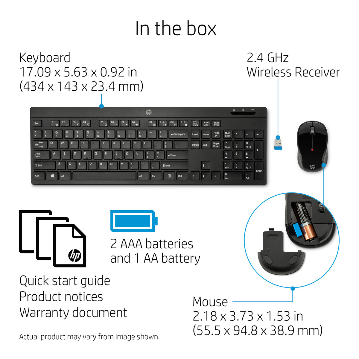 HP Combo 200 Desktop (Keyboard and Mouse), Wireless (2 4 GHz RF