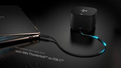 diapositive 1 sur 2,zoom avant, station d'accueil hp thunderbolt 120w avec adaptateur hdmi
