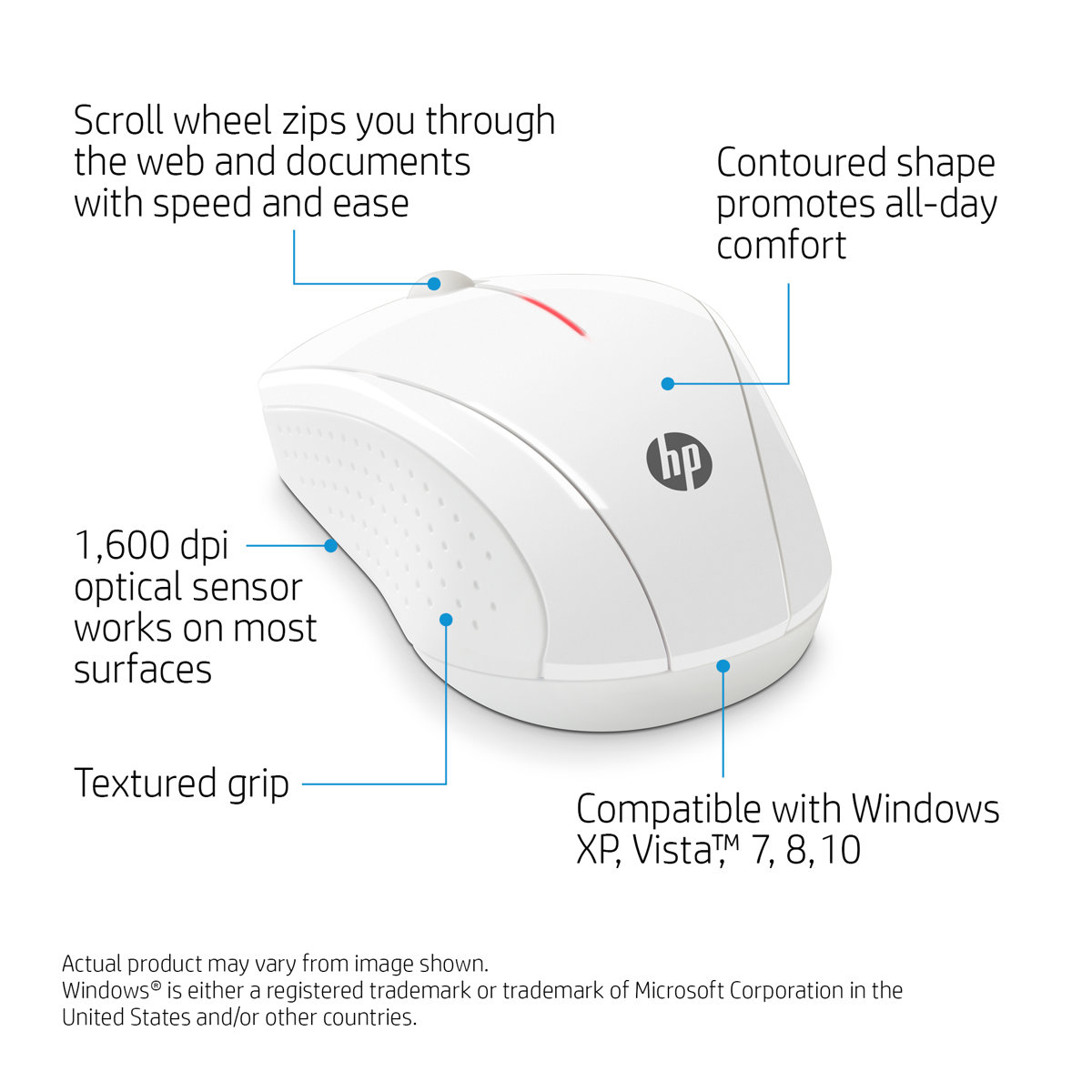 Slide 1 Of 13show Larger Image Hp X3000 Blizzard White Wireless Mouse