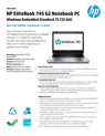 (Tyr) HP EliteBook 745 G2 Embedded Thin Client Datasheet