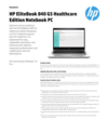 AMS HP EliteBook 840 G5 Healthcare Edition Notebook PC Datasheet