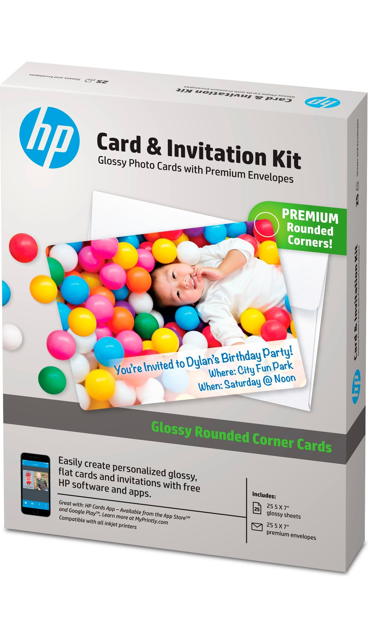 Hp Advanced Photo Paper Card Invitation Kit Rounded Corners White By