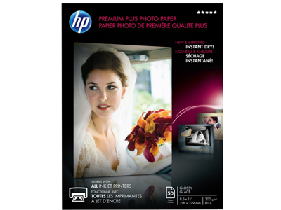 HP Premium Plus Glossy Photo Paper-50 sht/Letter/8.5 x 11 in