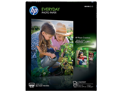 HP Everyday Glossy Photo Paper-25 sht/Letter/8.5 x 11 in