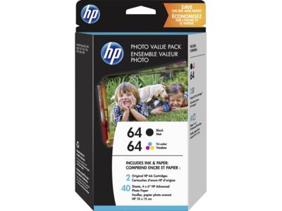 HP 64 Black/Tri-color Photo Value Pack-40 sht/4 x 6 in