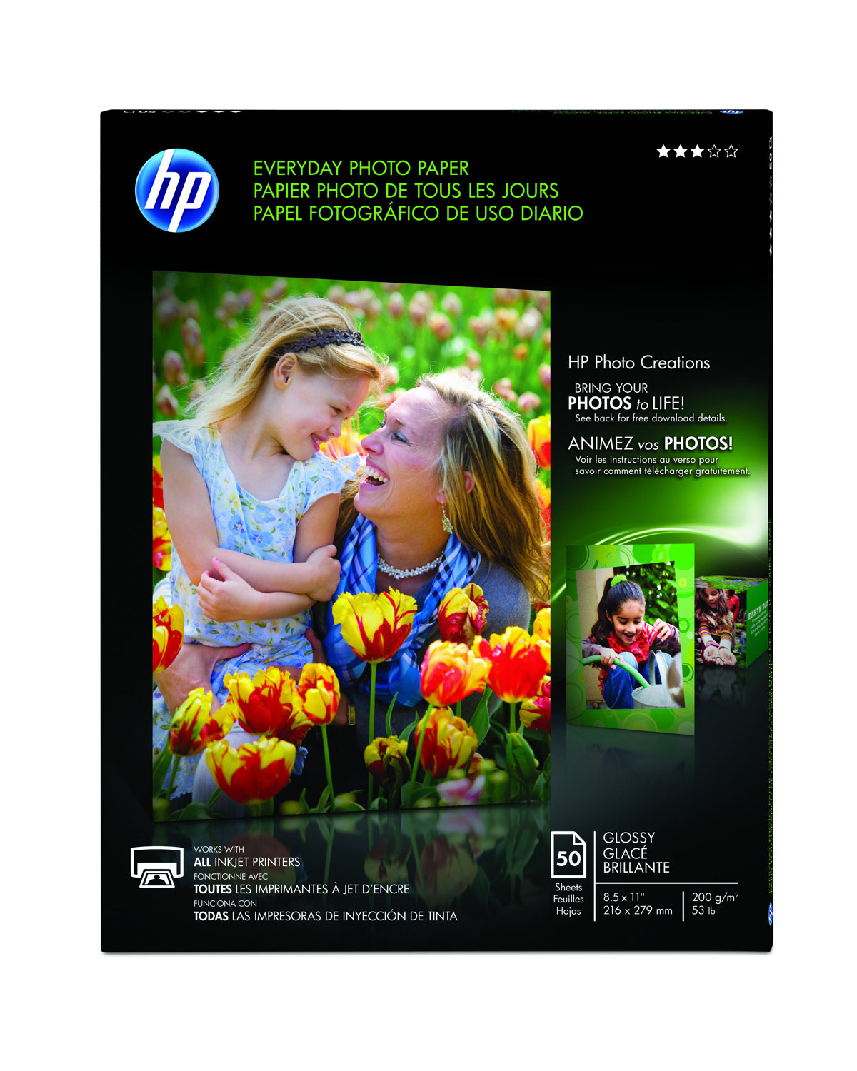 Hp Everyday Photo Paper 8 12 X 11 Glossy 53 Lb Pack Of 50 Sheets