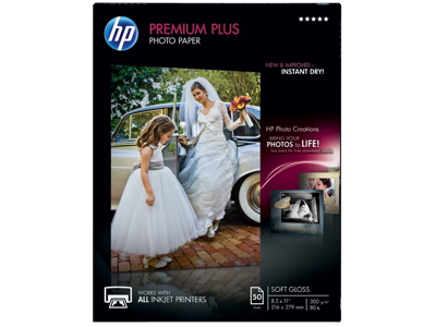 HP Premium Plus Soft-gloss Photo Paper-50 sht/Letter/8.5 x 11 in
