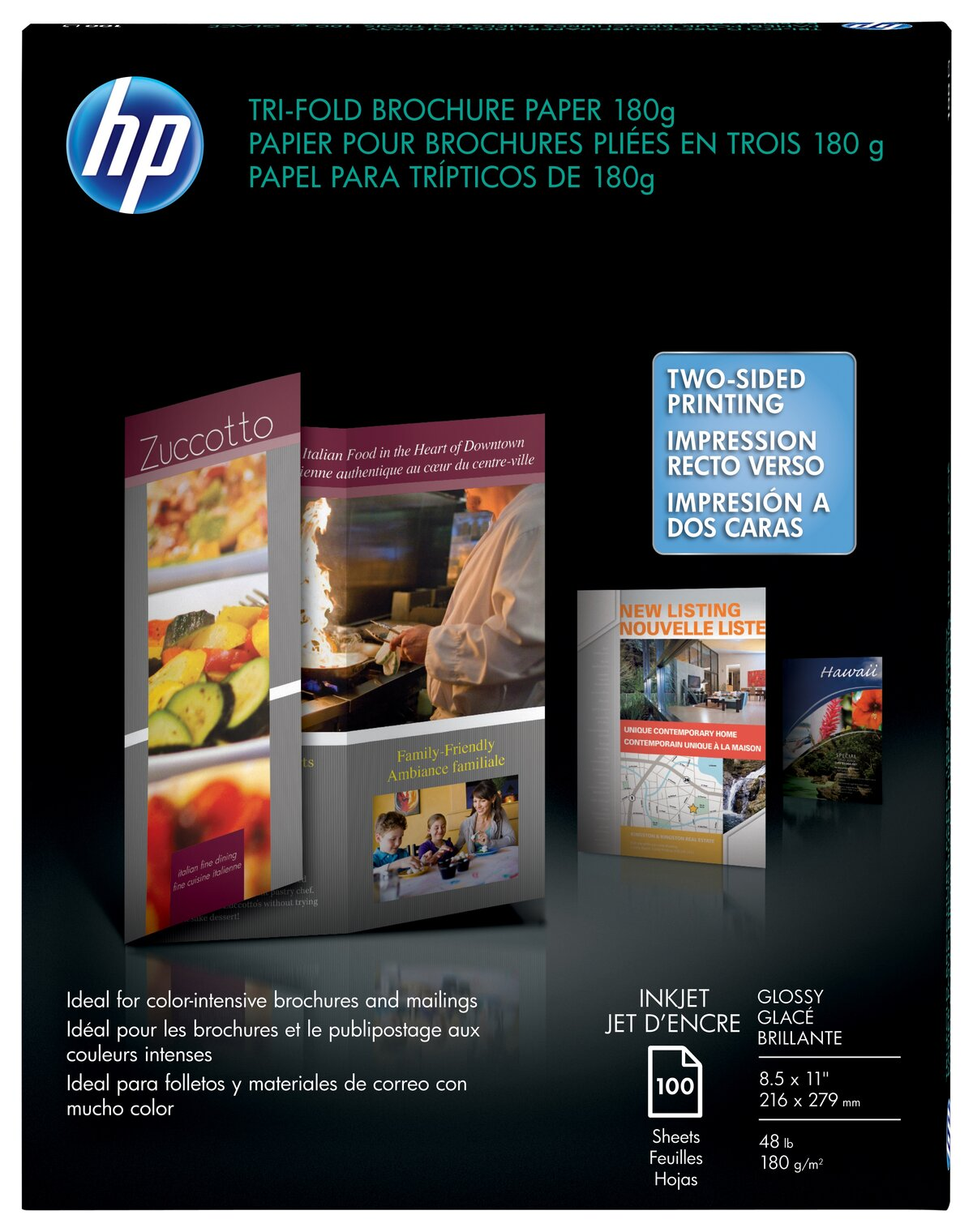 """Pin D Oregon Couleur hp professional brochure paper, tri-fold, glossy, letter size (8 1/2"""" x  11""""), 48 lb, pack of 100 sheets item # 716501"""