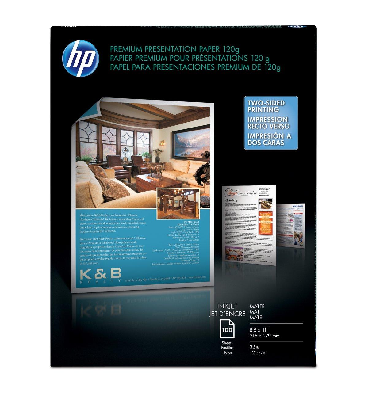 Hp Premium Presentation Paper Matte 8 12 X 11 32 Lb Pack Of 100