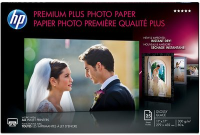 HP Premium Plus Glossy Photo Paper-25 sht/Tabloid/11 x 17 in