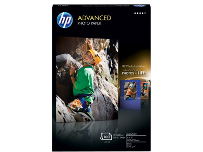 HP Advanced Glossy Photo Paper-100 sht/4 x 6 in borderless