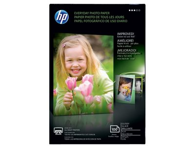 HP Everyday Glossy Photo Paper-100 sht/4 x 6 in