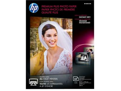 HP Premium Plus Glossy Photo Paper-60 sht/5 x 7 in