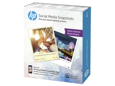HP Social Media Snapshots Removable Sticky Photo Paper-25 sht/4 x 5 in