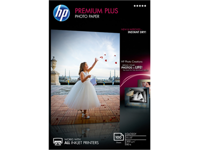 HP Premium Plus Glossy Photo Paper-100 sht/4 x 6 in