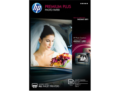 HP Premium Plus Soft-gloss Photo Paper-100 sht/4 x 6 in