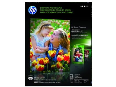 HP Everyday Glossy Photo Paper-50 sht/Letter/8.5 x 11 in