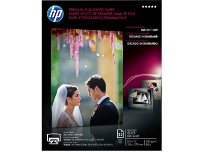 HP Premium Plus Glossy Photo Paper-25 sht/Letter/8.5 x 11 in
