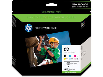 HP 02 Series Photo Value Pack-150 sht/4 x 6 in