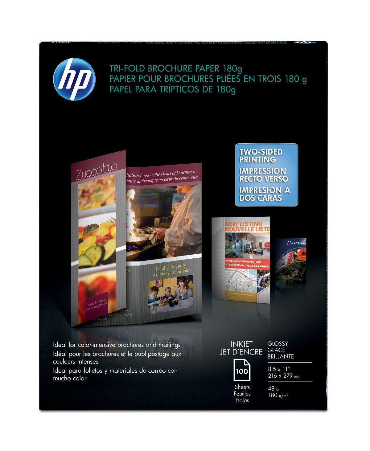 slide 1 of 1 show larger image hp inkjet glossy tri fold brochure