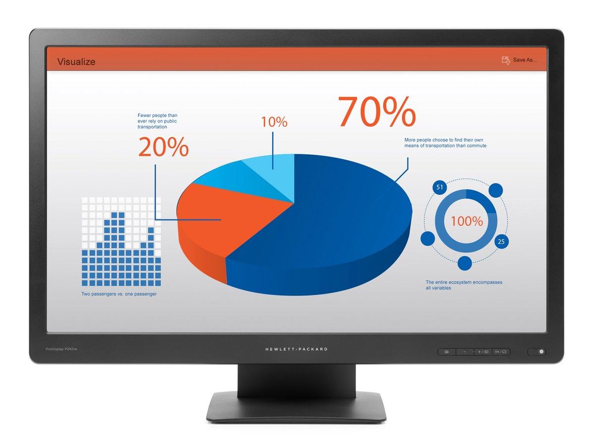 slide 1 of 5,show larger image, hp prodisplay p242va 24-inch monitor