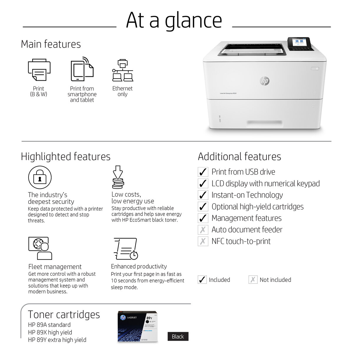 HP LaserJet Enterprise M507n Monochrome Laser Printer, 45 ppm Black,  1200x1200 dpi, 650-Sheet Standard Input Tray (Manual Duplex Printing)