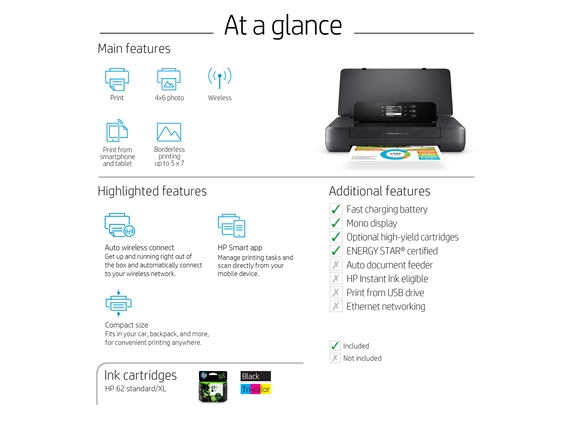 HP Officejet 200 Portable Color Printer With Wireless And Mobile Printing,  CZ993A Item # 687590