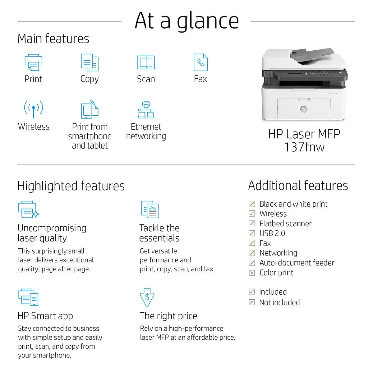 137fnw - Color Multifunction Printer - Laser - A4 - USB / Ethernet / Wi-Fi
