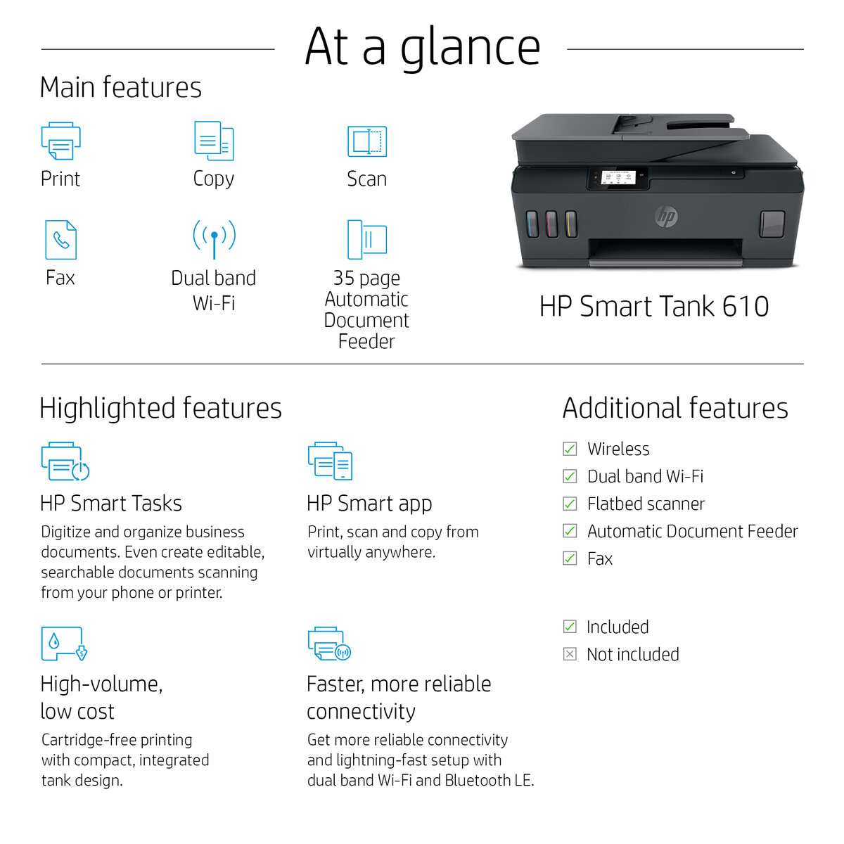 slide 1 of 12,show larger image, hp smart tank 615 wireless all-in-one