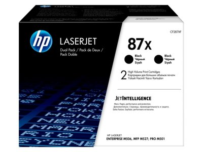 HP 87X 2-pack High Yield Black Original LaserJet Toner Cartridges