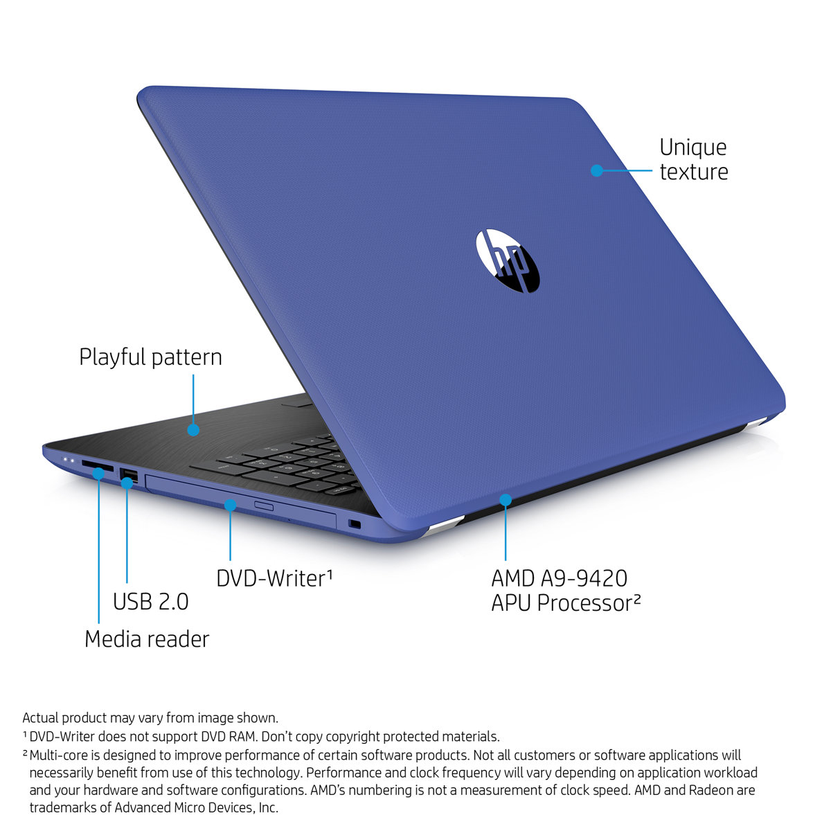 fingerhut hp 15 6 hd 4gb windows 10 laptop computer blue 15bw069nr