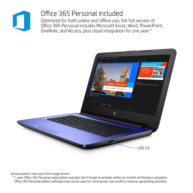Hp 14 Am052nr Laptop 14 Screen Intel Celeron 4gb Memory 32gb Solid