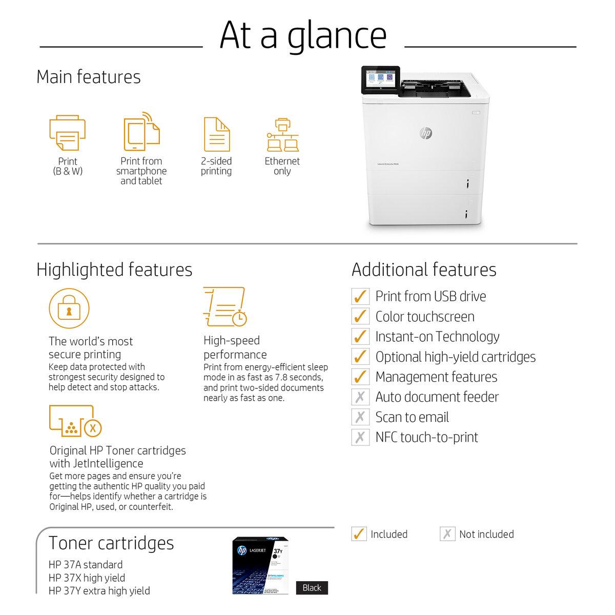HP LaserJet Enterprise M608x printer - monochrome - laser