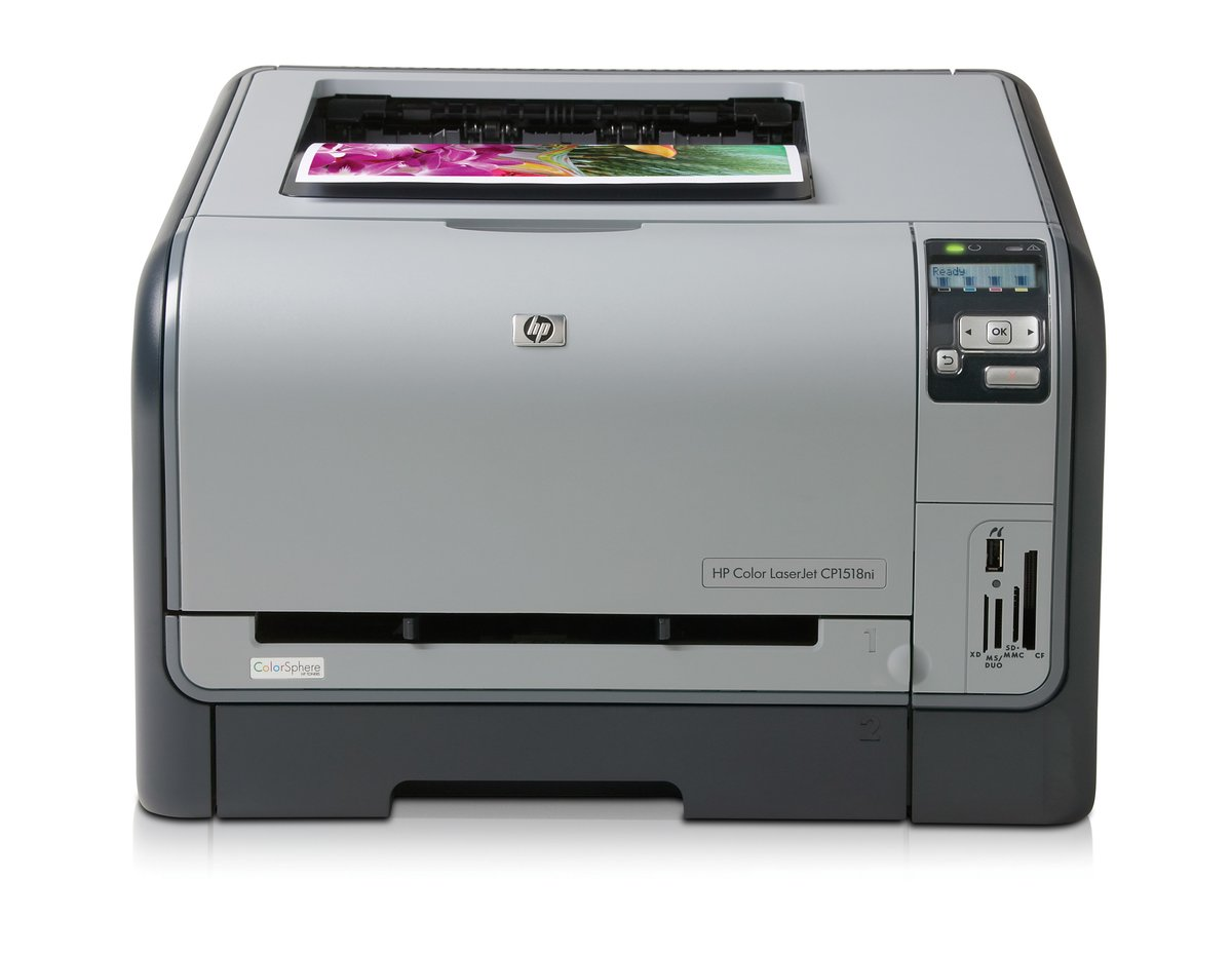 slide 1 of 6,show larger image, hp color laserjet cp1518ni printer