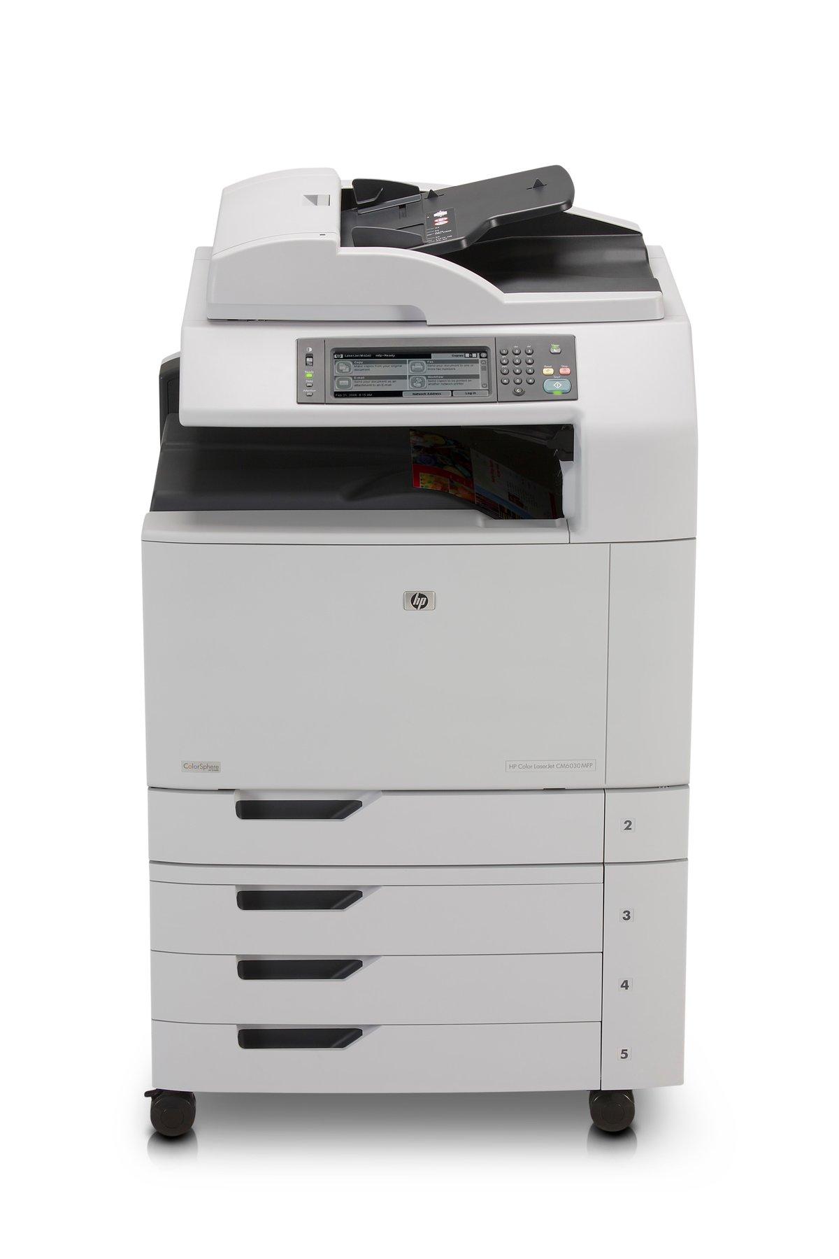 slide 1 of 6,show larger image, hp color laserjet cm6030 multifunction  printer