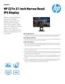 HP Z27n 27-inch Narrow Bezel IPS Display Datasheet