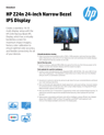 HP Z24n 24-inch Narrow Bezel IPS Display Datasheet (English (AMS))