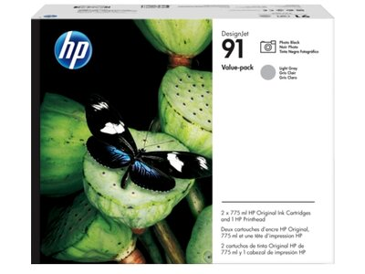 HP 91 Value Pack 775-ml Photo Black/Lt Gray DesignJet Ink Cartridges/Printhead
