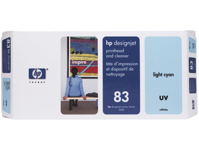 HP 83 Light Cyan DesignJet UV Printhead and Printhead Cleaner