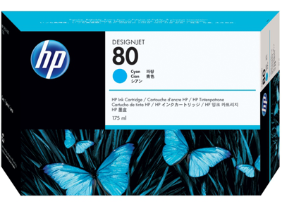 HP 80 175-ml Cyan DesignJet Ink Cartridge