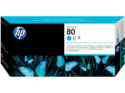 HP 80 Cyan Printhead and Printhead Cleaner