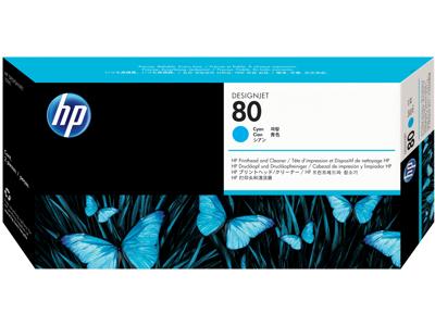 HP 80 Cyan DesignJet Printhead and Printhead Cleaner