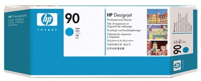 HP 90 Cyan DesignJet Printhead and Printhead Cleaner