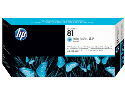 HP 81 Light Cyan DesignJet Dye Printhead and Printhead Cleaner